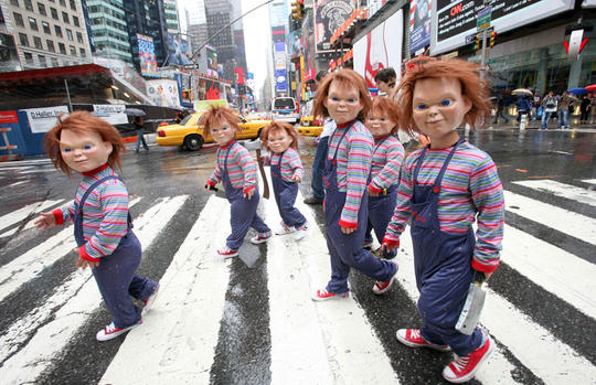 Chucky's stalk Times Square