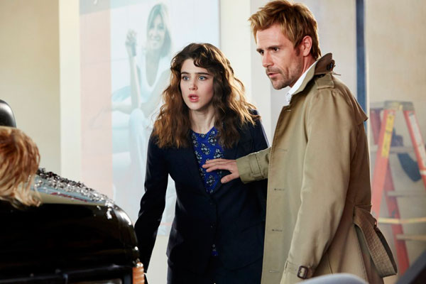 Matt Ryan as Constantine and Lucy Griffiths as Liv