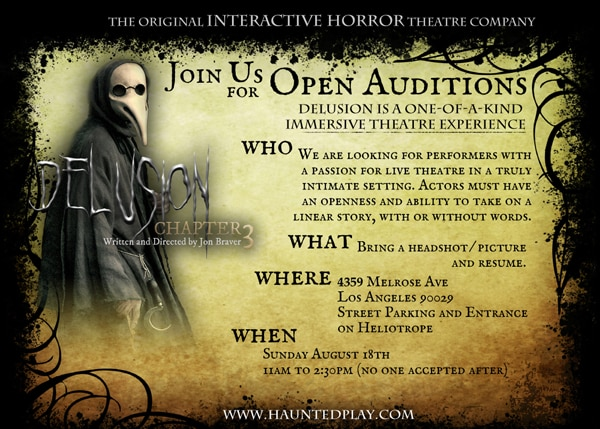 delusion - Open Casting Call Now Live for Haunted Attraction Delusion: Chapter 3