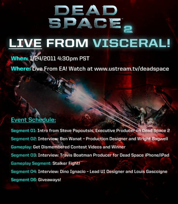 Dead Space 2 Live Event Being Held Today, January 24th!