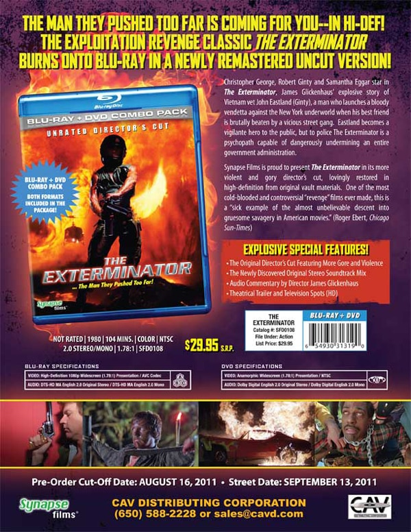 The Exterminator Burns Up Blu-ray!