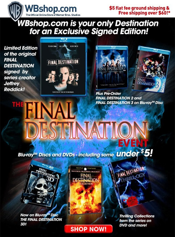 Get Your Signed Copy of the Original Final Destination From the WB Shop