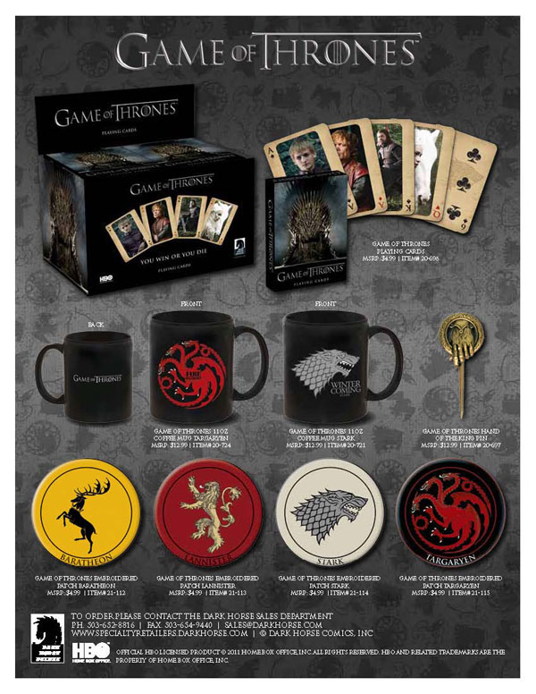 HBO and Dark Horse Announce Game of Thrones Merchandise Partnership