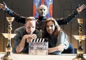 Hickox, Terry Farrell and Doug Bradley on the Hellraiser 3 set!