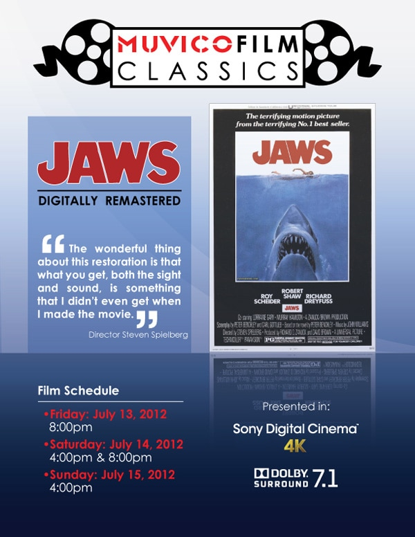 Chicago-Area Fiends: The Restored Print of Jaws is Coming to Muvico 18 in Rosemont Next Weekend!