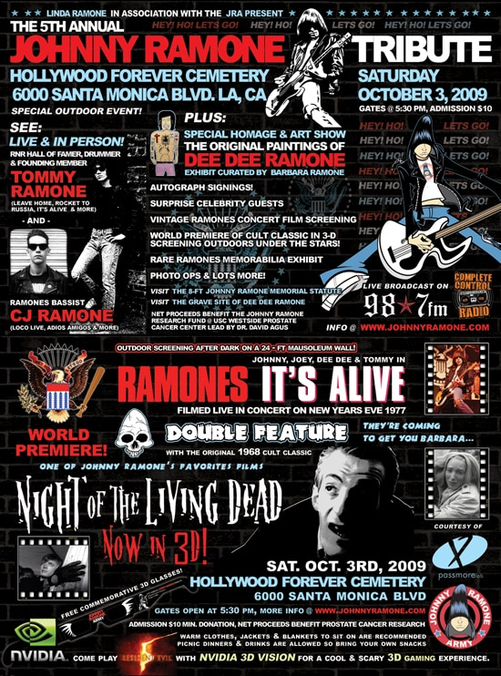 See NOTLD in 3D at the 5th Annual Johnny Ramone Tribute