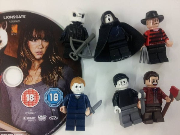 lego history of slasher films 1 - LEGO Slasher Icons Celebrate You're Next Home Video Release