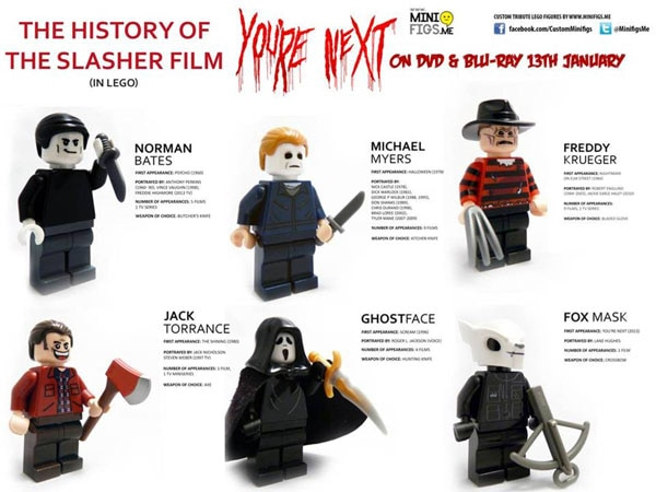 lego history of slasher films 2 - LEGO Slasher Icons Celebrate You're Next Home Video Release