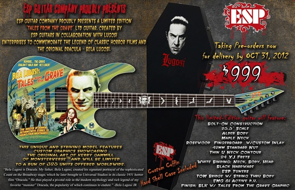 ESP Releasing a Limited Edition Bela Lugosi's Tales from the Grave Guitar