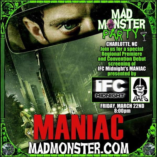 Mad Monster Party to Host Screening of IFC Midnight's Maniac in Charlotte, NC on March 22