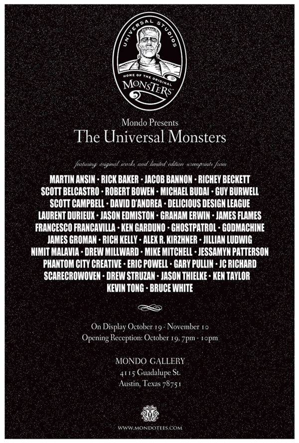 Info on Mondo's Universal Monsters Gallery, Kick-Off Poster, and Fantastic Fest Activities