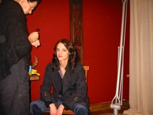 Asia Argento on the set of her father's Third Mother