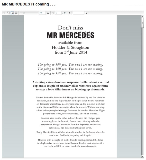 Get a Taste of Mr. Mercedes from a Sneak Peek of the Prologue