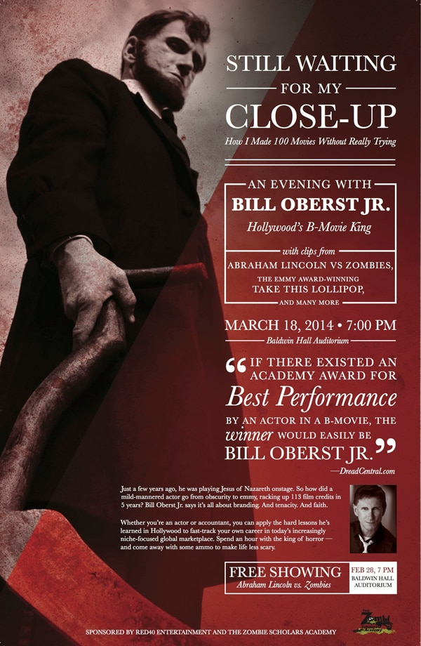 Bill Oberst, Jr.'s College Lecture Series Kicks off on March 18