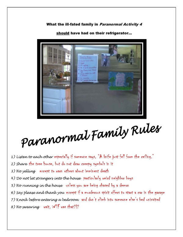 pafrs - Paranormal Activity Family Rules