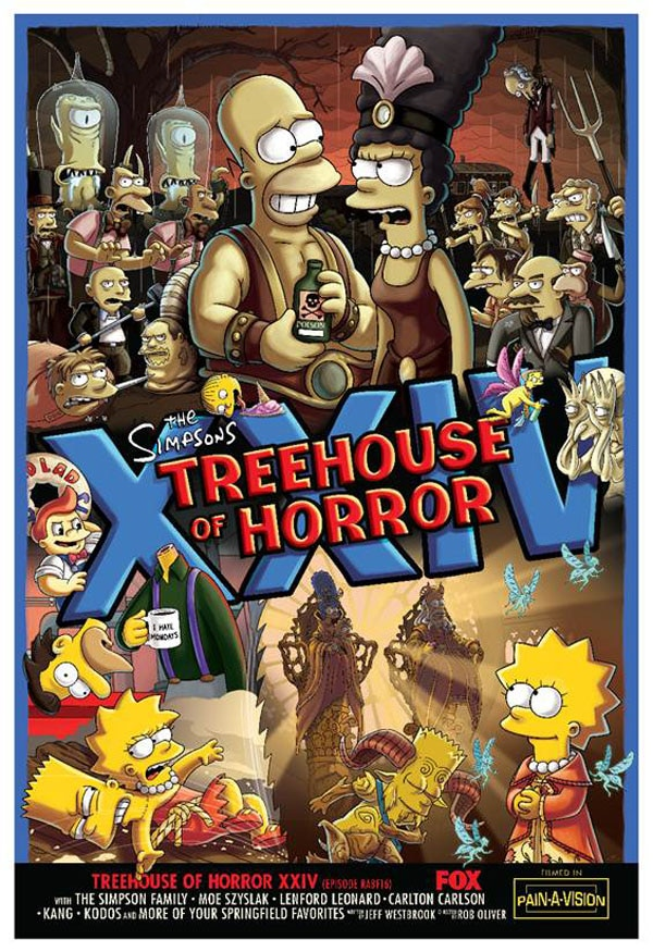 simpsons treehouse poster - Dig on Guillermo del Toro's Epic Opening for The Simpsons Treehouse of Terror XXIV