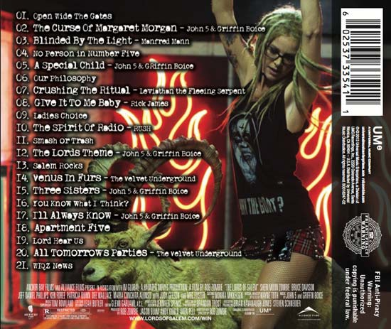 Rob Zombie's The Lords of Salem Soundtrack - Artwork, Goat Riding and Track Listing