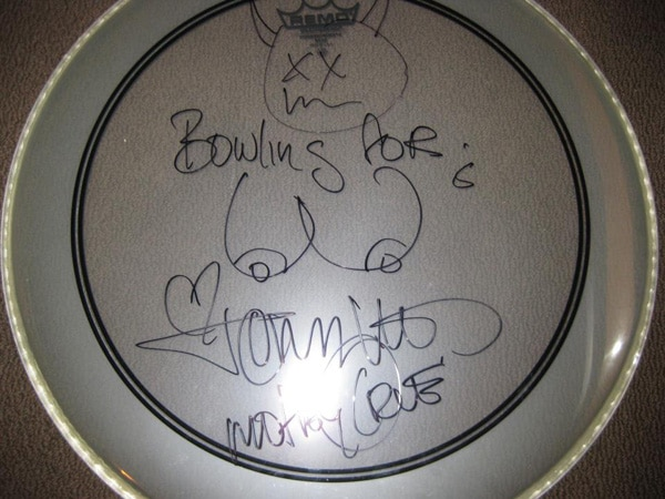 Bid on a Signed Drum Head from Motley Crue's Tommy Lee, Courtesy of The Horror Starlets
