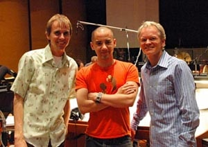 Director Mike Dougherty (in the middle) at the scoring session for Trick 'r Treat!
