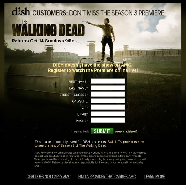 AMC Offers Dish Subscribers a Free Live Stream of The Walking Dead Season 3 Premiere