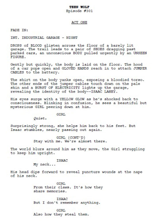 Read the First Page of the Script for the Teen Wolf Season 3 Premiere