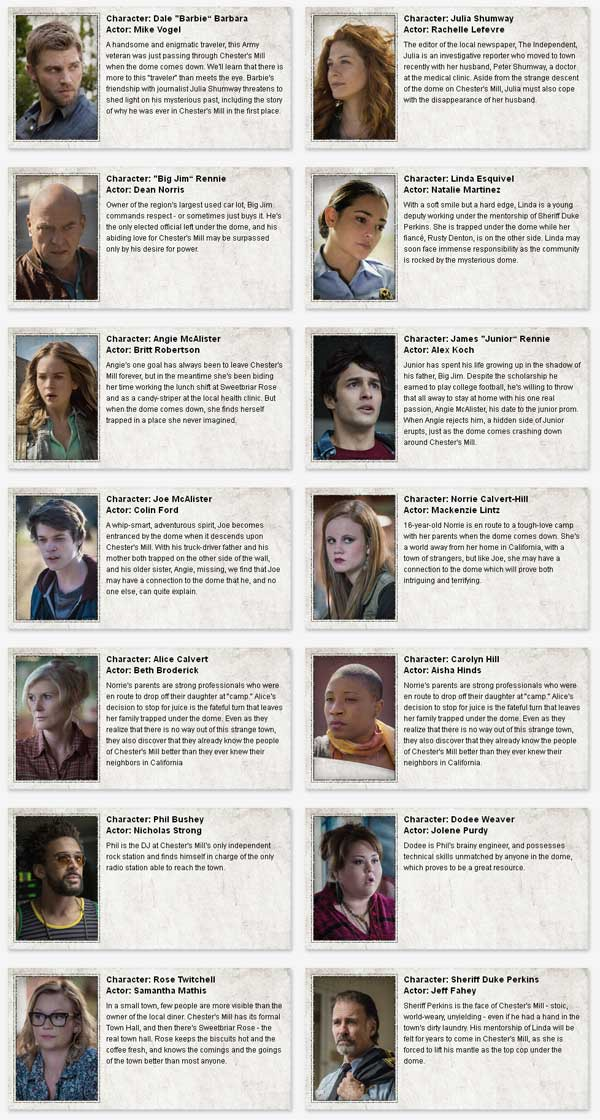 underthedome characters - Under the Dome Character Profiles, New Sneak Peek, and Stephen King's Take on the Show