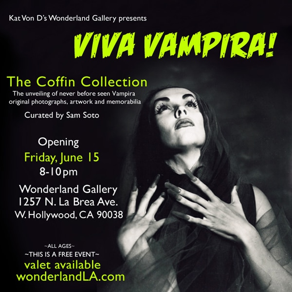 Kat Von D's Wonderland Gallery Hosting Viva Vampira Photo Exhibit Livestream Tonight (June 15)!