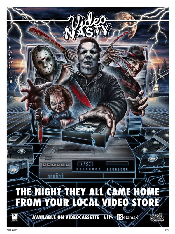 The Dude Designs Celebrates the Heyday of Horror VHS Art with a Stunning New Poster!