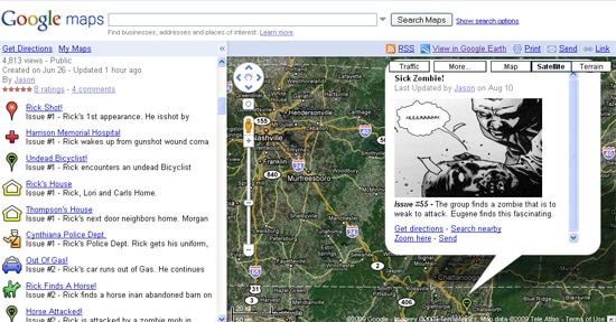 Tour The Walking Dead via Google Maps - Dread Central Dead S On Google Maps on