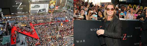 World War Z New York Premiere in Times Square