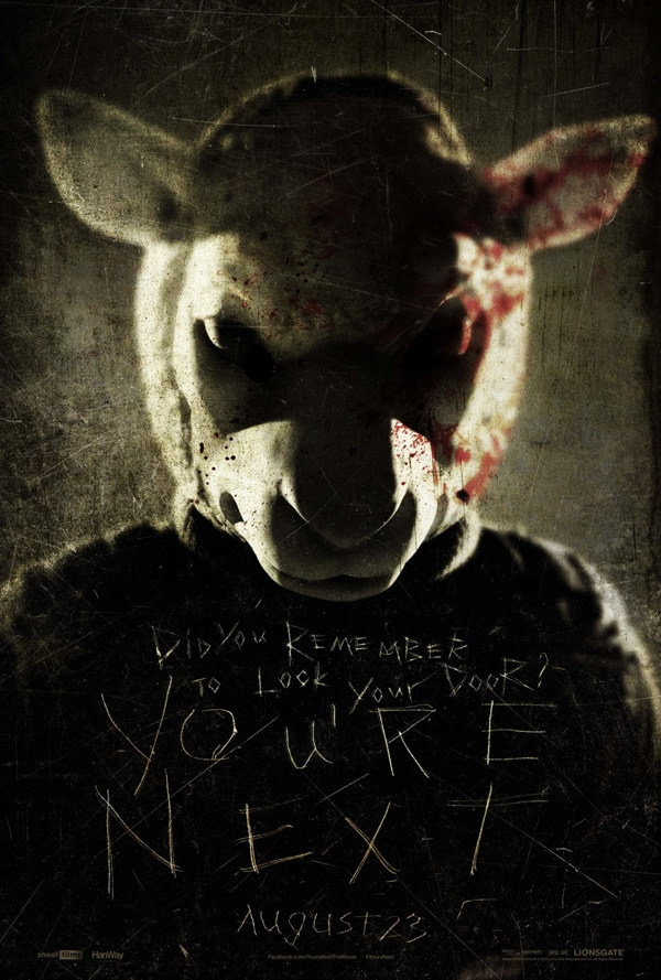 youre next poster1 - A New Trailer for You're Next Swims in from Across the Pond